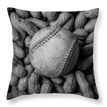 Throw Pillow featuring the photograph Baseball And Peanuts Black And White Square  by Terry DeLuco