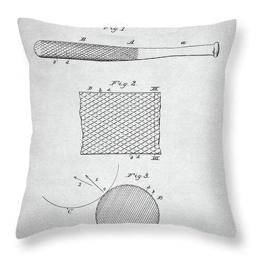 Baseball Bat Patent Throw Pillow by Taylan Apukovska