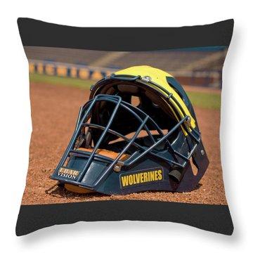 Baseball Catcher Helmet Throw Pillow