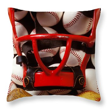 Baseball Catchers Mask And Balls Throw Pillow by Garry Gay