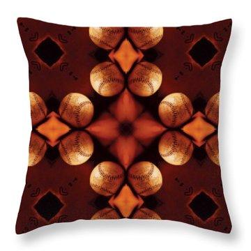 Baseball Cross Throw Pillow by Maria Watt