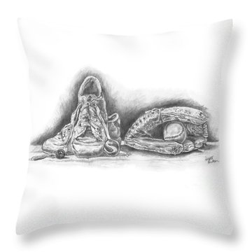 Baseball Gloves And Shoes Throw Pillow