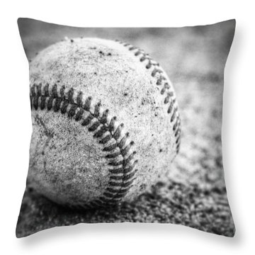 Baseball In Black And White Throw Pillow