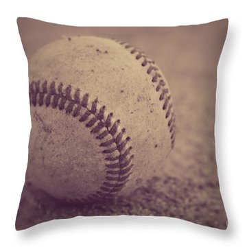 Baseball In Sepia Throw Pillow