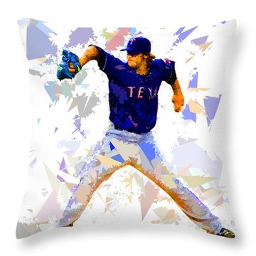 Throw Pillow featuring the painting Baseball Pitch by Movie Poster Prints