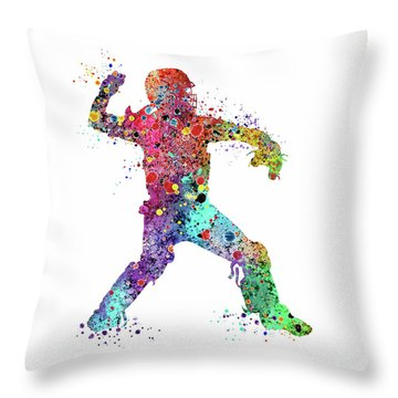 Baseball Softball Catcher 3 Watercolor Print Throw Pillow