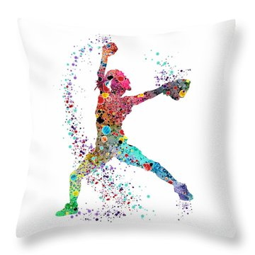 Baseball Softball Pitcher Watercolor Print Throw Pillow