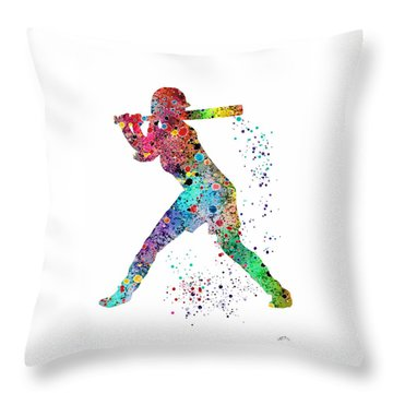 Baseball Softball Player Throw Pillow