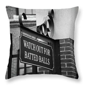 Baseball Warning Bw Throw Pillow