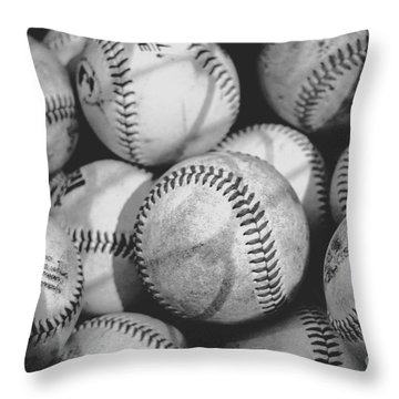 Baseballs In Black And White Throw Pillow