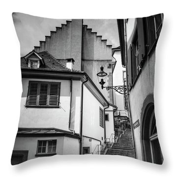 Basel Old Town In Black And White  Throw Pillow