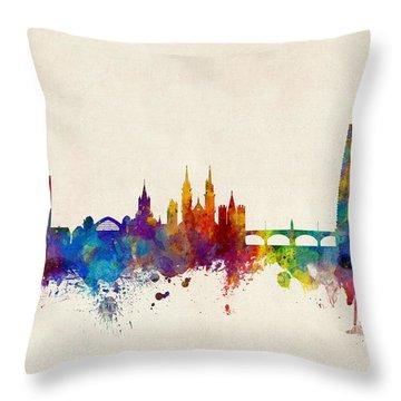 Basel Switzerland Skyline Throw Pillow