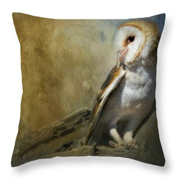 Bashful Barn Owl Throw Pillow