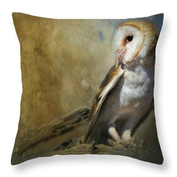 Bashful Barn Owl Throw Pillow