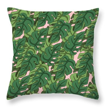 Basic Green Lead Pattern Throw Pillow