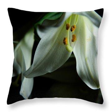 Basic White Lily Throw Pillow