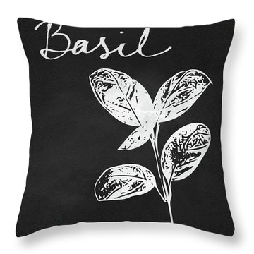 Basil Black And White- Art By Linda Woods Throw Pillow