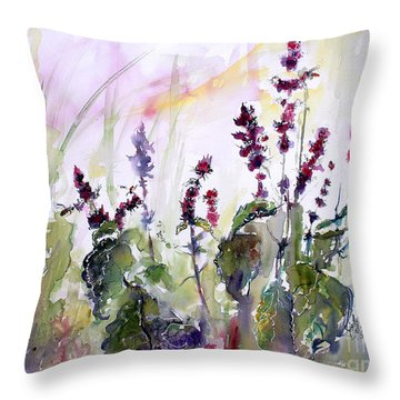 Throw Pillow featuring the painting Basil Culinary Herb Watercolor by Ginette Callaway