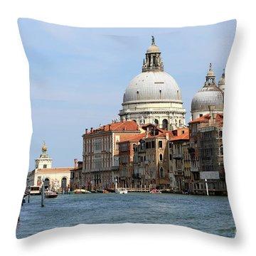 Basilica Della Salute And Punta Della Dogana On The Grand Canal Throw Pillow