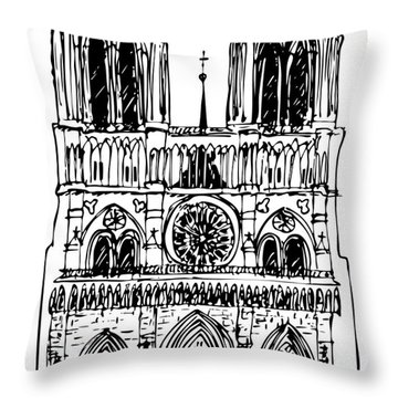 basilica Notre Dame Throw Pillow by Michal Boubin