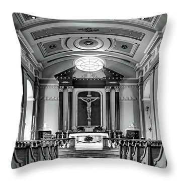 Throw Pillow featuring the photograph Basilica Of Saint Louis King - Black And White by Nikolyn McDonald