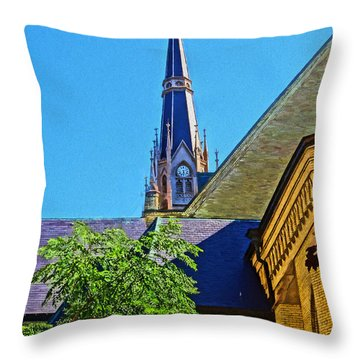 Basilica Of The Sacred Heart Notre Dame Throw Pillow by Dan Sproul