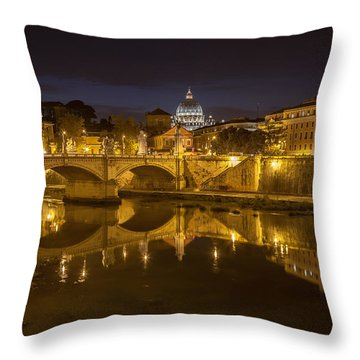 Basilica Over The River Tiber Throw Pillow