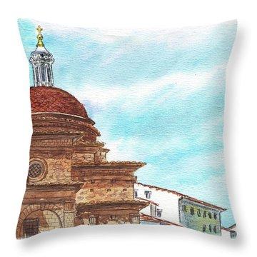 Throw Pillow featuring the painting Basilica San Lorenzo Florence Italy by Irina Sztukowski