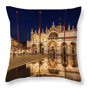 Basilica San Marco Reflections At Night - Venice, Italy Throw Pillow