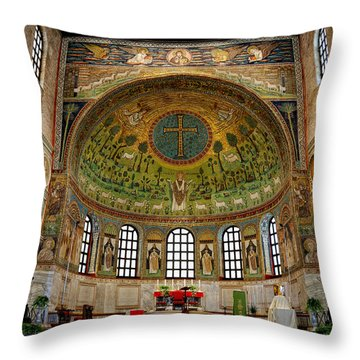 Basilica Of Sant' Apollinare In Classe Throw Pillow by Nigel Fletcher-Jones