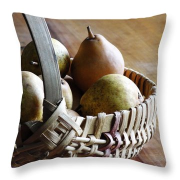 Basket And Pears Throw Pillow