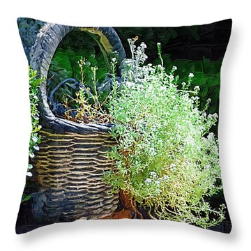 Basket Full Of Flowers Throw Pillow by Donna Bentley