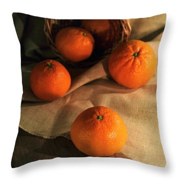 Throw Pillow featuring the photograph Basket Of Fresh Tangerines by Jaroslaw Blaminsky