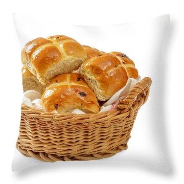 Basket Of Hot Cross Buns Throw Pillow