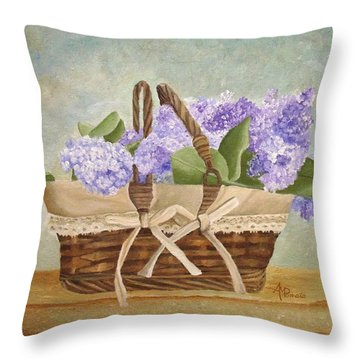 Throw Pillow featuring the painting Basket Of Lilacs by Angeles M Pomata