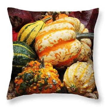 Basket Of Pumpkins Throw Pillow