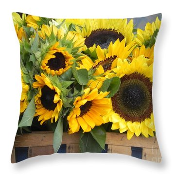 Basket Of Sunflowers Throw Pillow