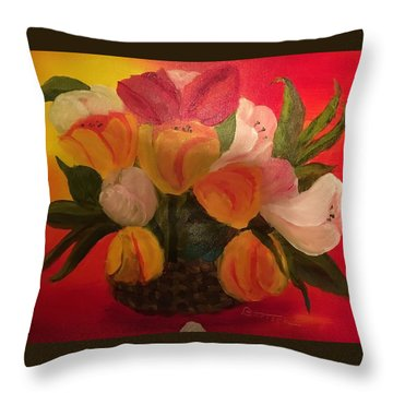 Basket Of Tulips Throw Pillow