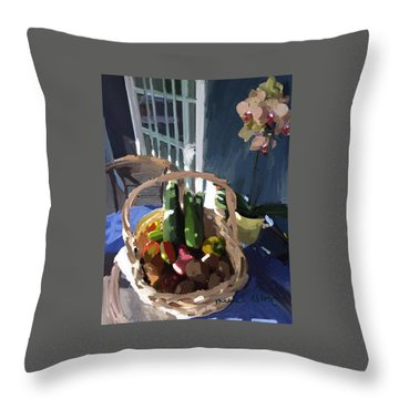 Basket Of Veggies And Orchid Throw Pillow