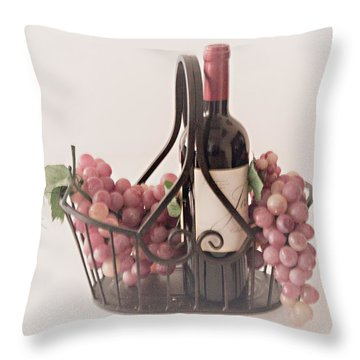 Basket Of Wine And Grapes Throw Pillow