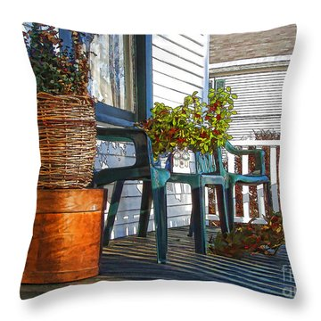 Throw Pillow featuring the photograph Basket Porch by Betsy Zimmerli