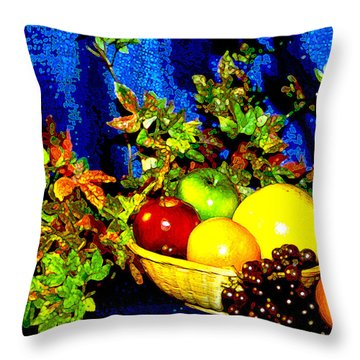 Basket With Fruit Throw Pillow by Nancy Mueller