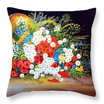 Basket With Summer Flowers Throw Pillow by Helmut Rottler