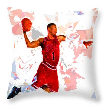 Throw Pillow featuring the painting Basketball 1 by Movie Poster Prints