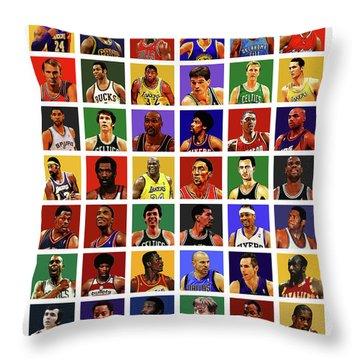 Basketball Legends Throw Pillow