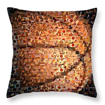 Basketball Mosaic Throw Pillow by Paul Van Scott
