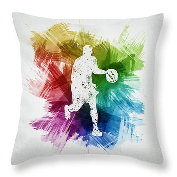 Basketball Player Art 16 Throw Pillow by Aged Pixel