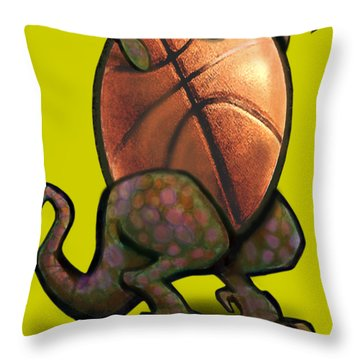 Throw Pillow featuring the digital art Basketball Saurus Rex by Kevin Middleton