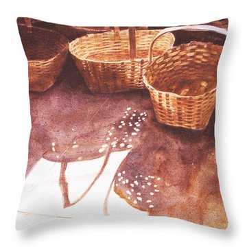 Baskets In The Sun Throw Pillow