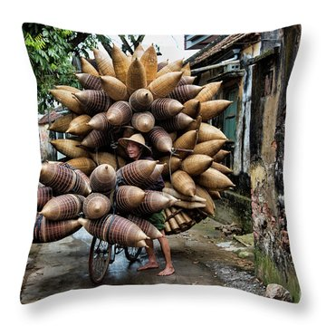 Baskets Loaded On Bicycle Fishing Pods Amazing  Throw Pillow